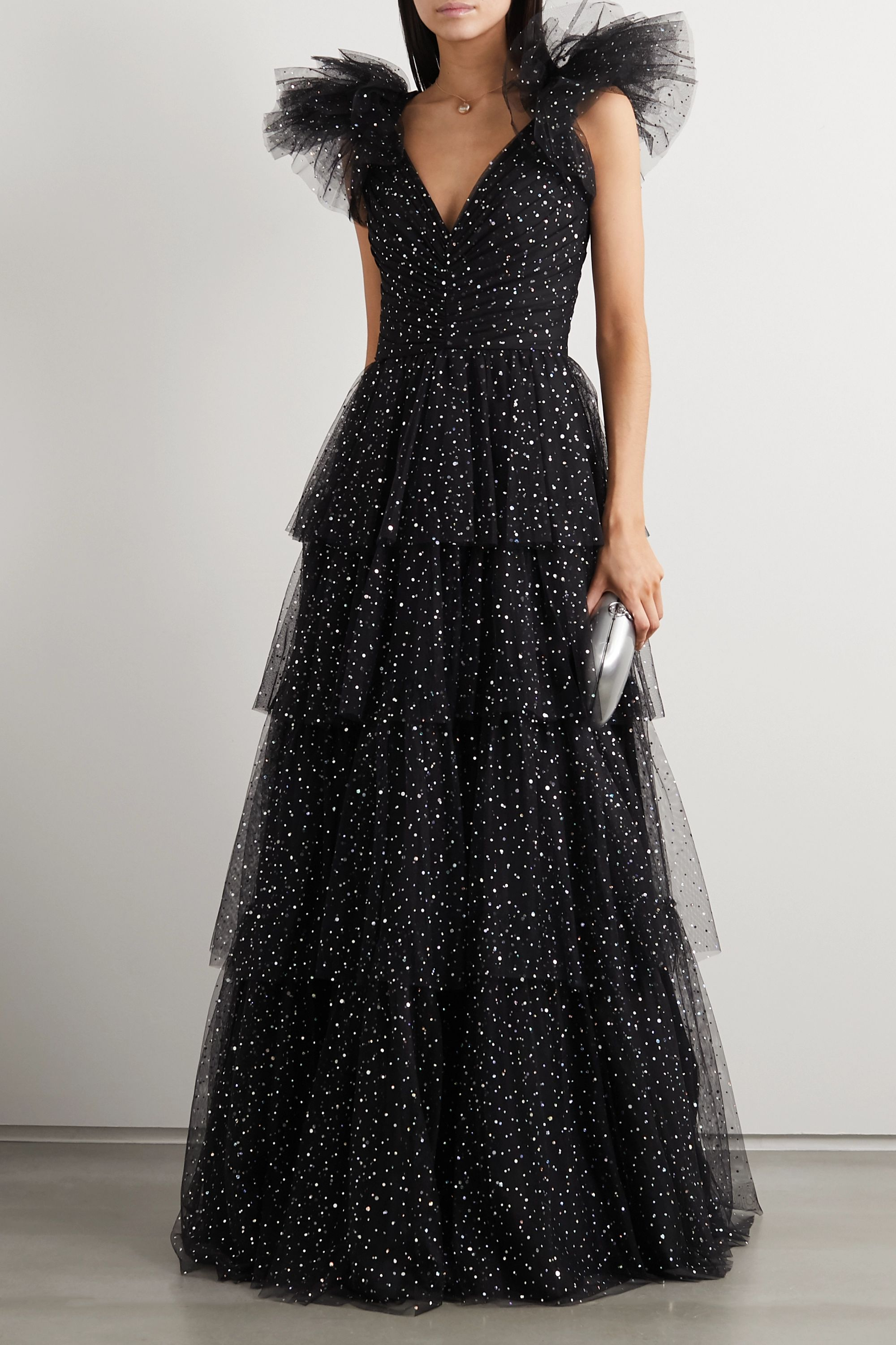 Jenny Packham Glinda tiered glittered tulle gown