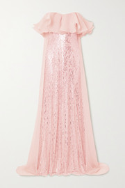 Marguerite strapless ruffled organza and sequin-embellished tulle gown