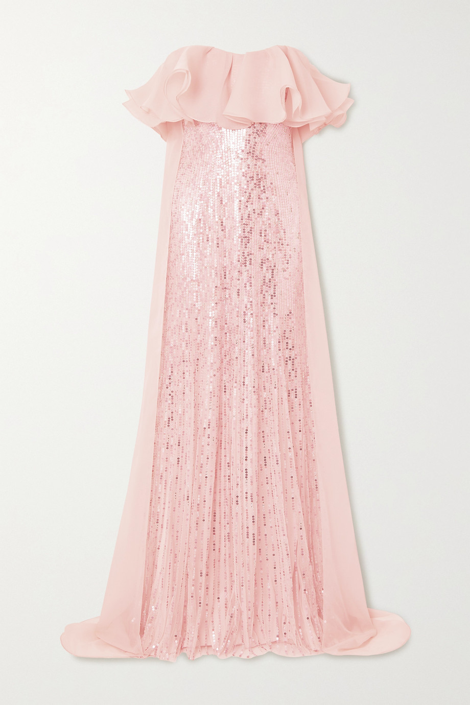 Jenny Packham   Marguerite strapless ruffled organza and sequin-embellished tulle gown   NET-A-PORT