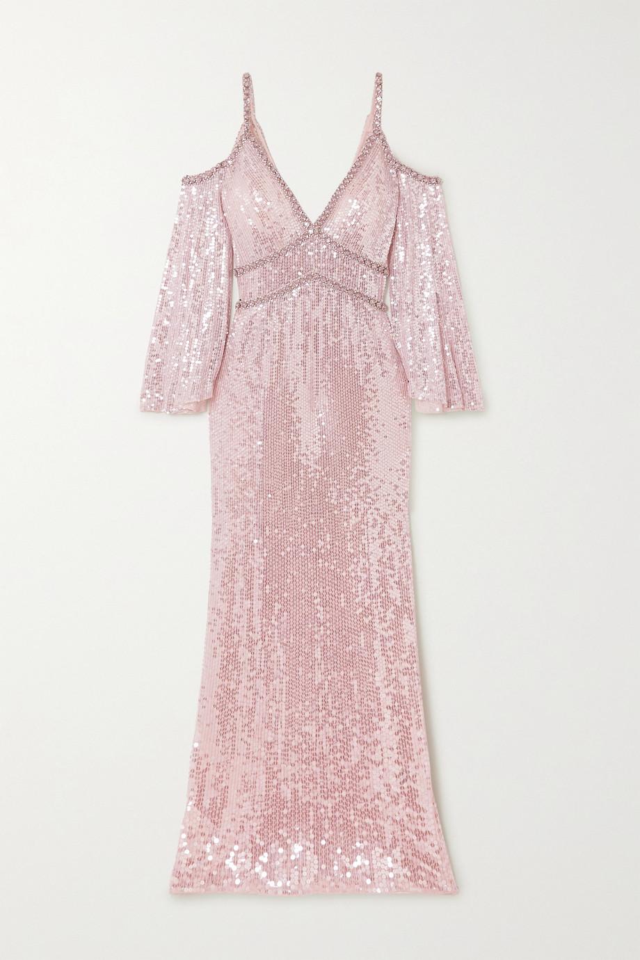 Jenny Packham Lea cold-shoulder crystal-embellished sequined tulle gown
