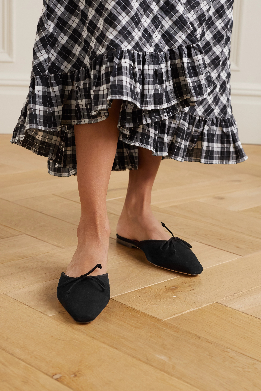 STAUD Gina 蝴蝶结细节绒面革穆勒鞋