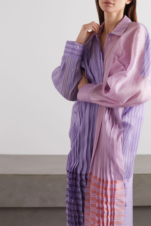 Nina Ricci Oversized gathered striped silk and cotton-blend organza shirt dress