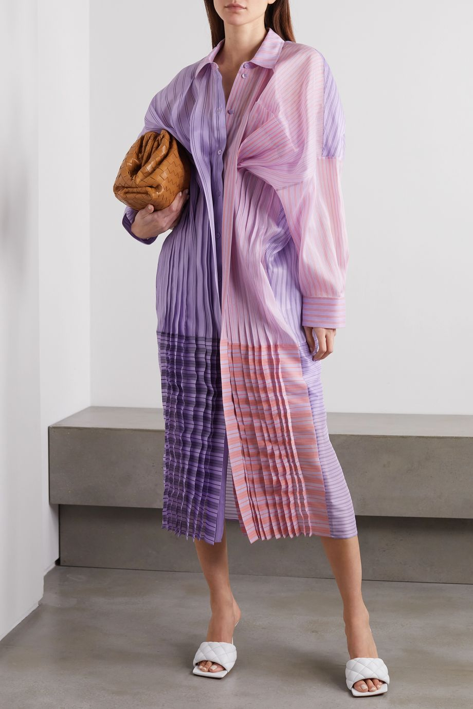 Nina Ricci Oversized gathered striped silk and cotton-blend organza shirt dress
