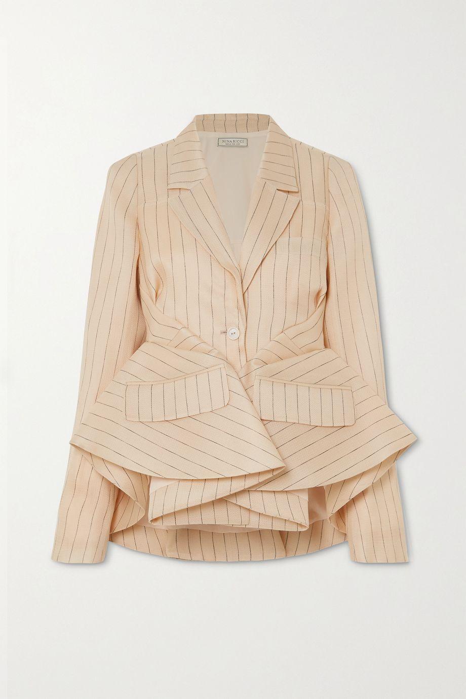 Nina Ricci Gathered pinstriped silk peplum blazer