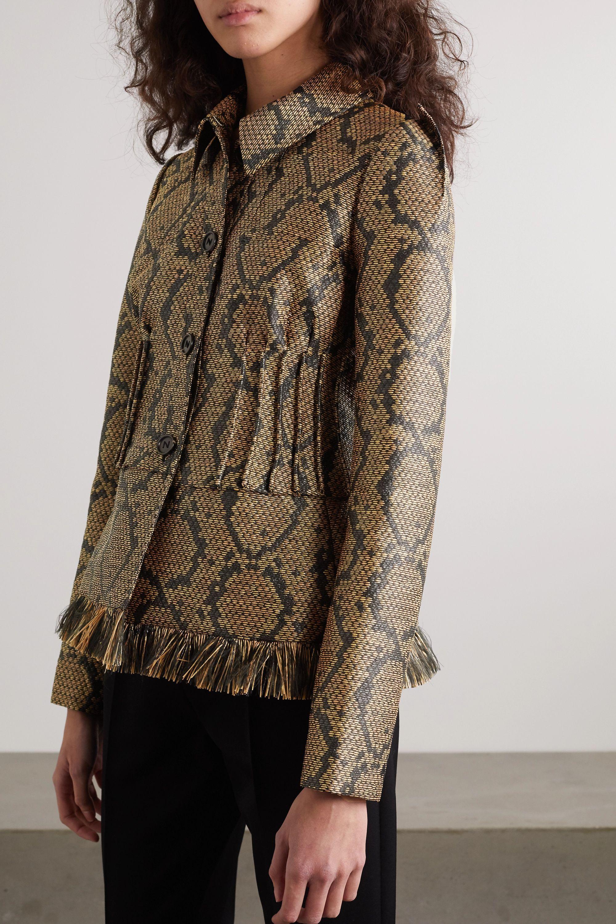 Nina Ricci Fringed pintucked snake-print woven jacket