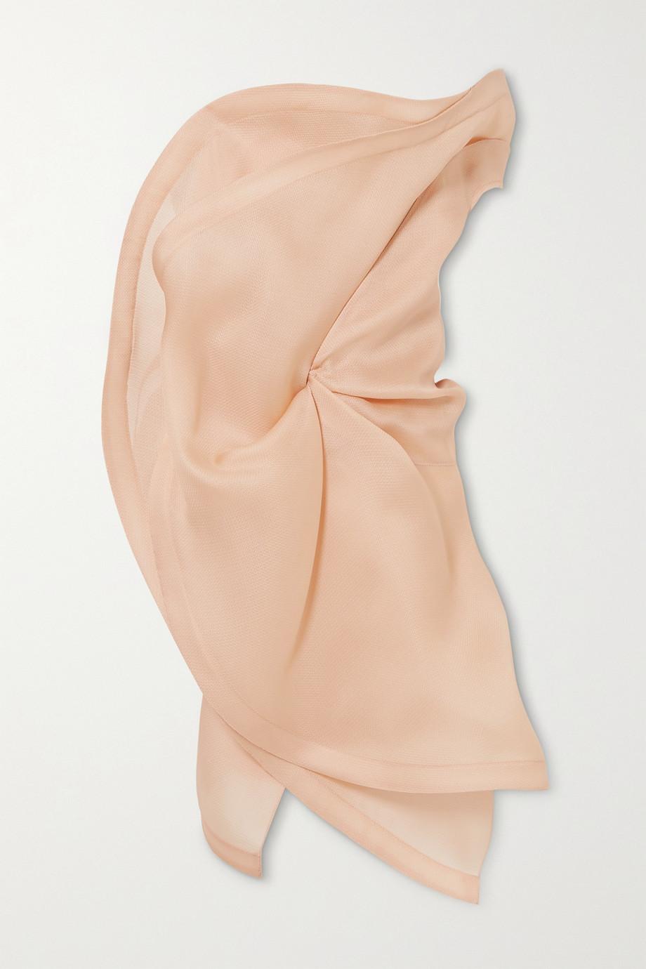 Nina Ricci Asymmetric strapless ruffled silk-gazar top