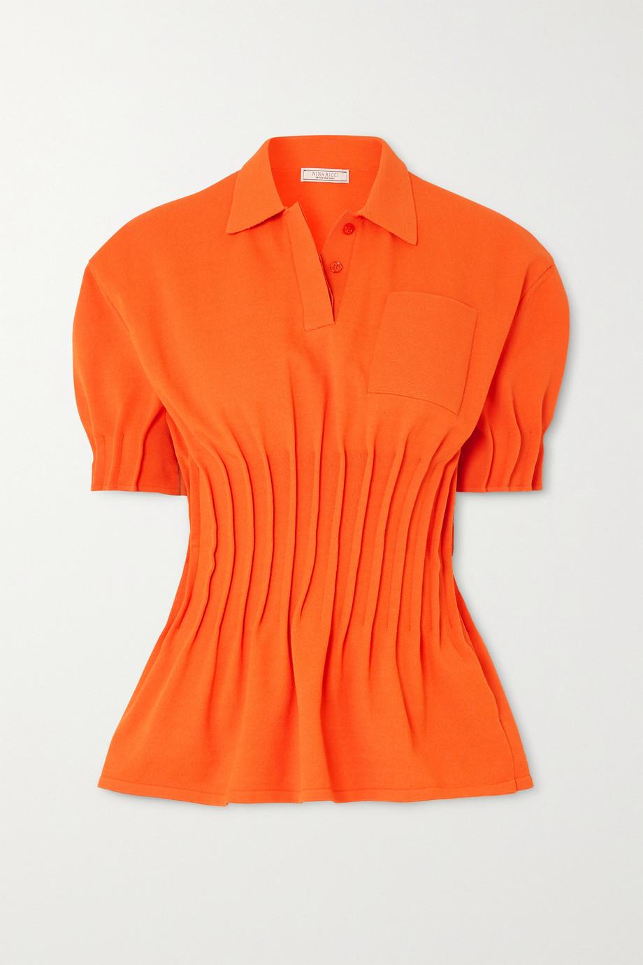 Nina Ricci Pintucked terry polo shirt