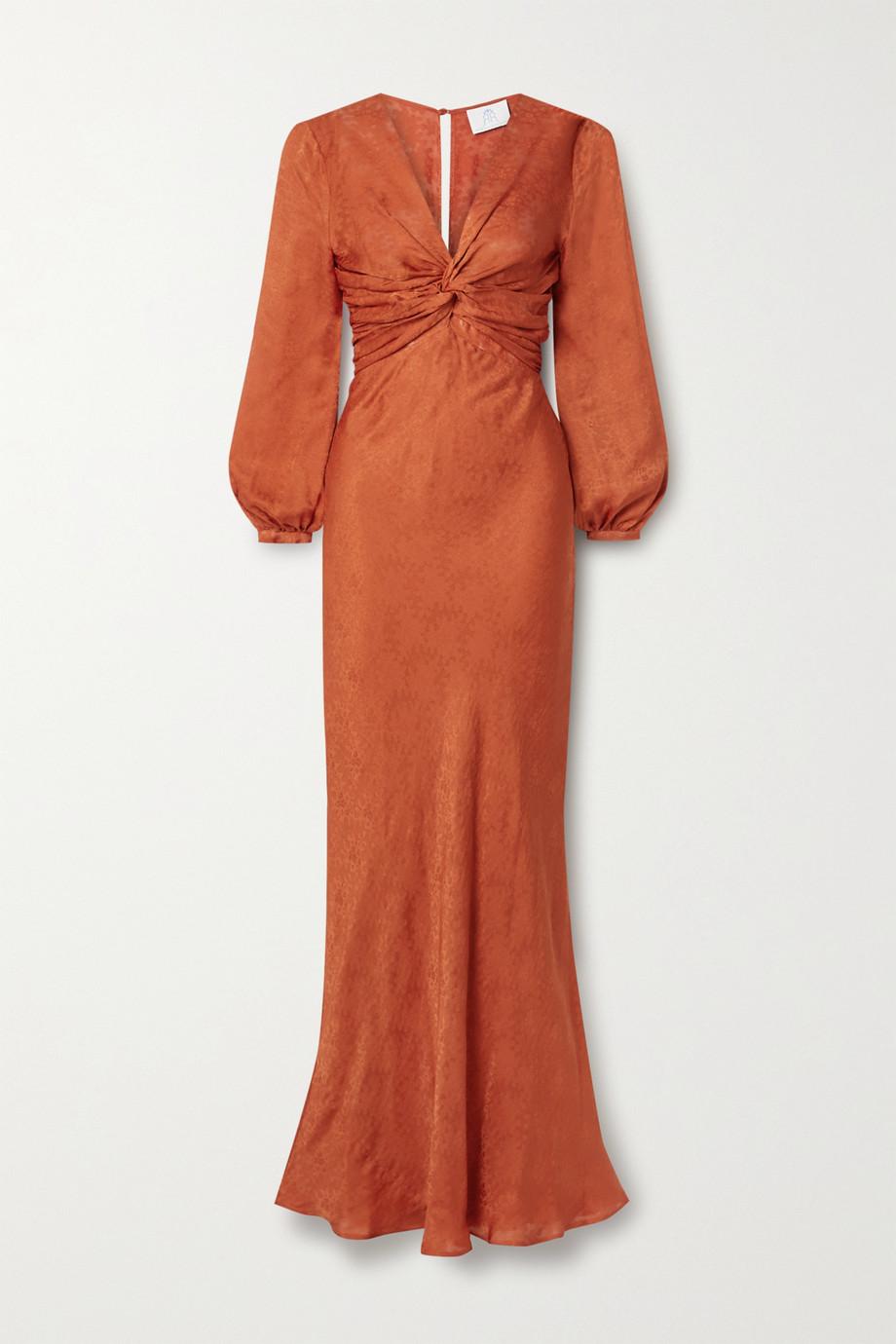 Rebecca de Ravenel Sienna knotted silk-satin jacquard gown