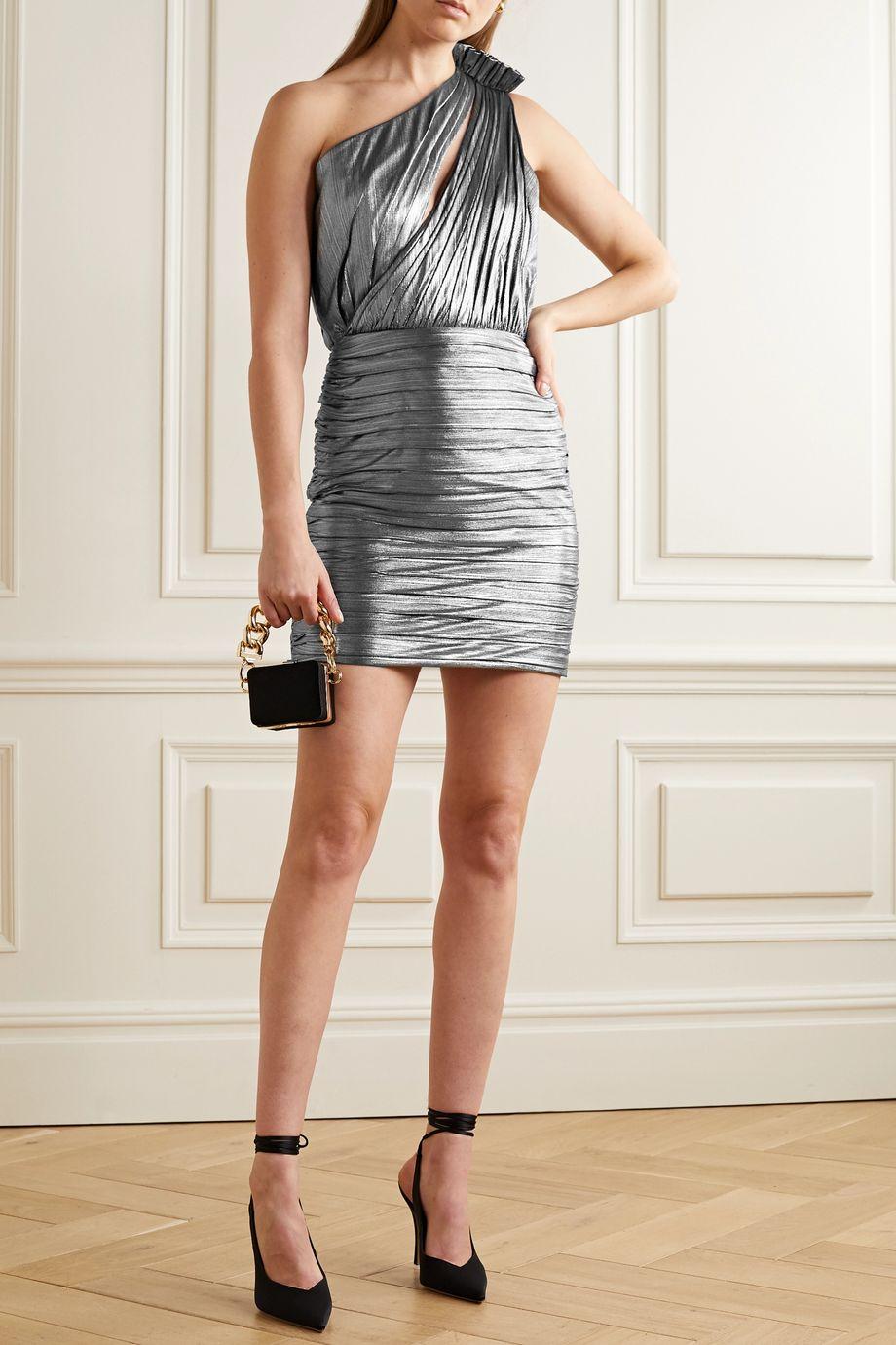 Retrofête Cassia one-shoulder cutout ruched lamé mini dress