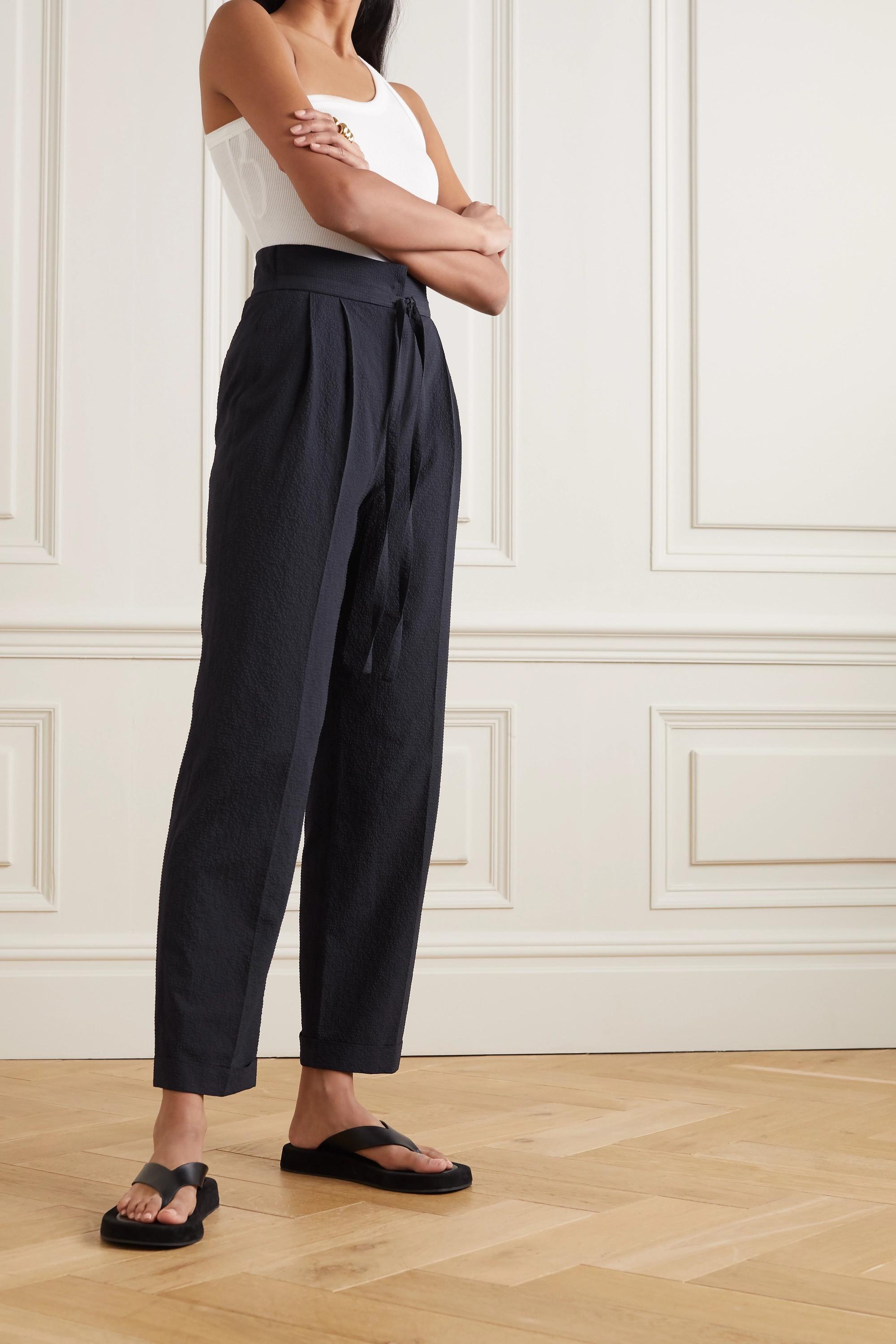 LE 17 SEPTEMBRE Seersucker straight-leg pants