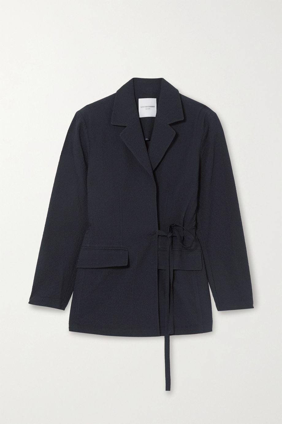 LE 17 SEPTEMBRE Tie-detailed seersucker blazer