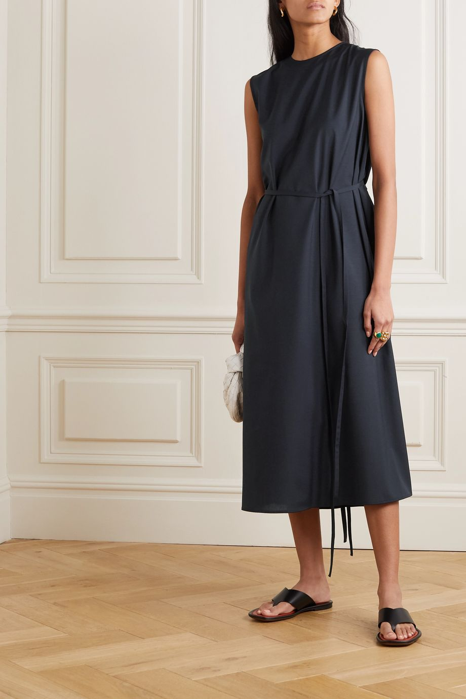 LE 17 SEPTEMBRE Belted crepe midi dress