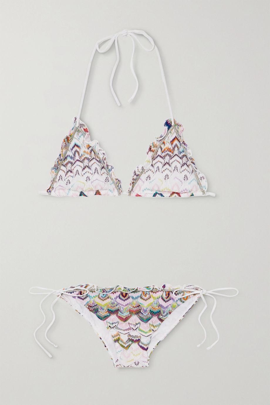 Missoni Mare Neckholder-Triangel-Bikini aus Häkelstrick mit Rüschen