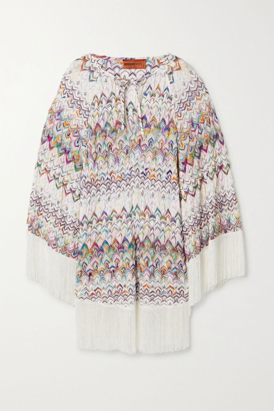Missoni Mare fringed metallic crochet-knit kaftan