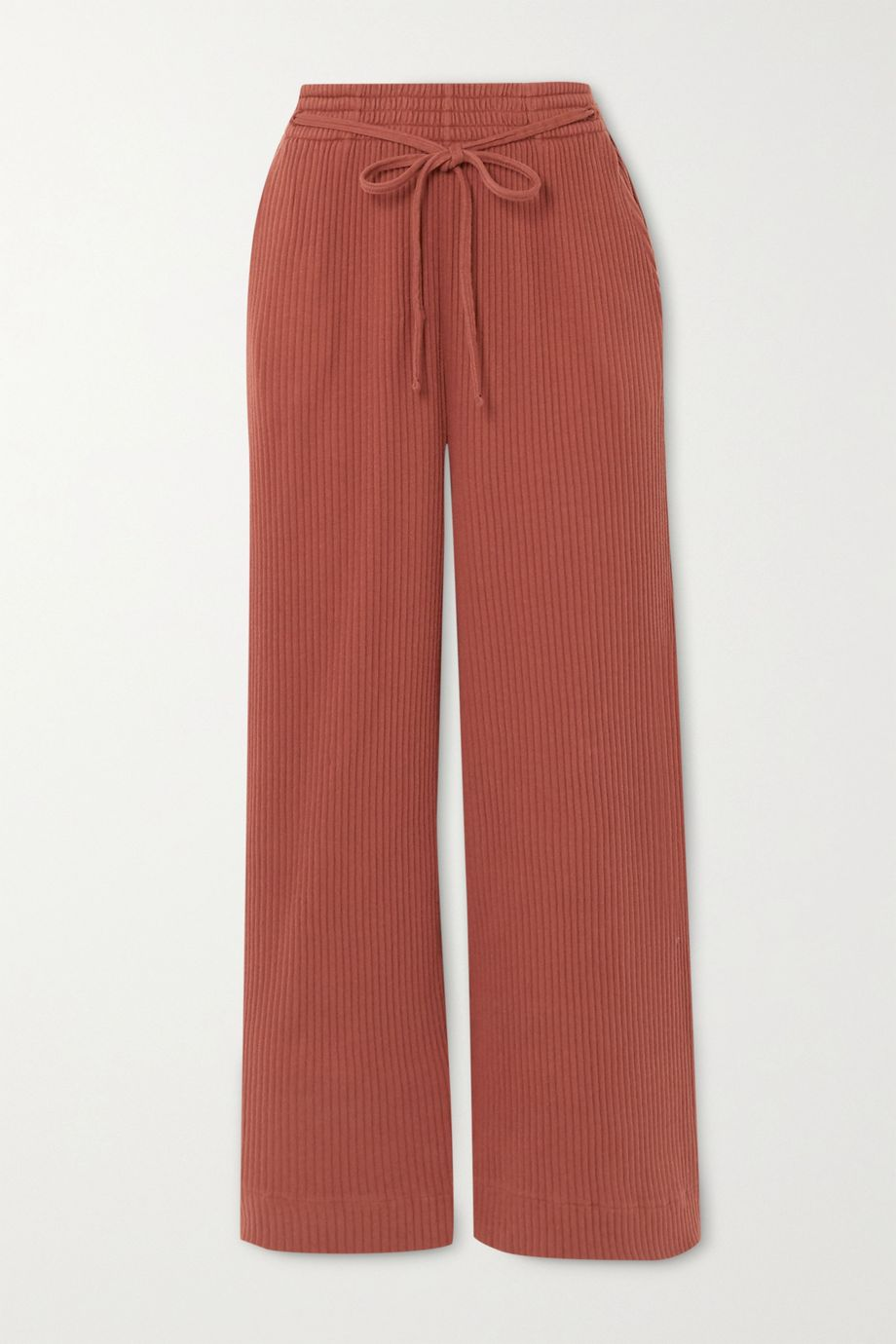 Baserange Wayn cropped ribbed organic cotton-fleece wide-leg pants