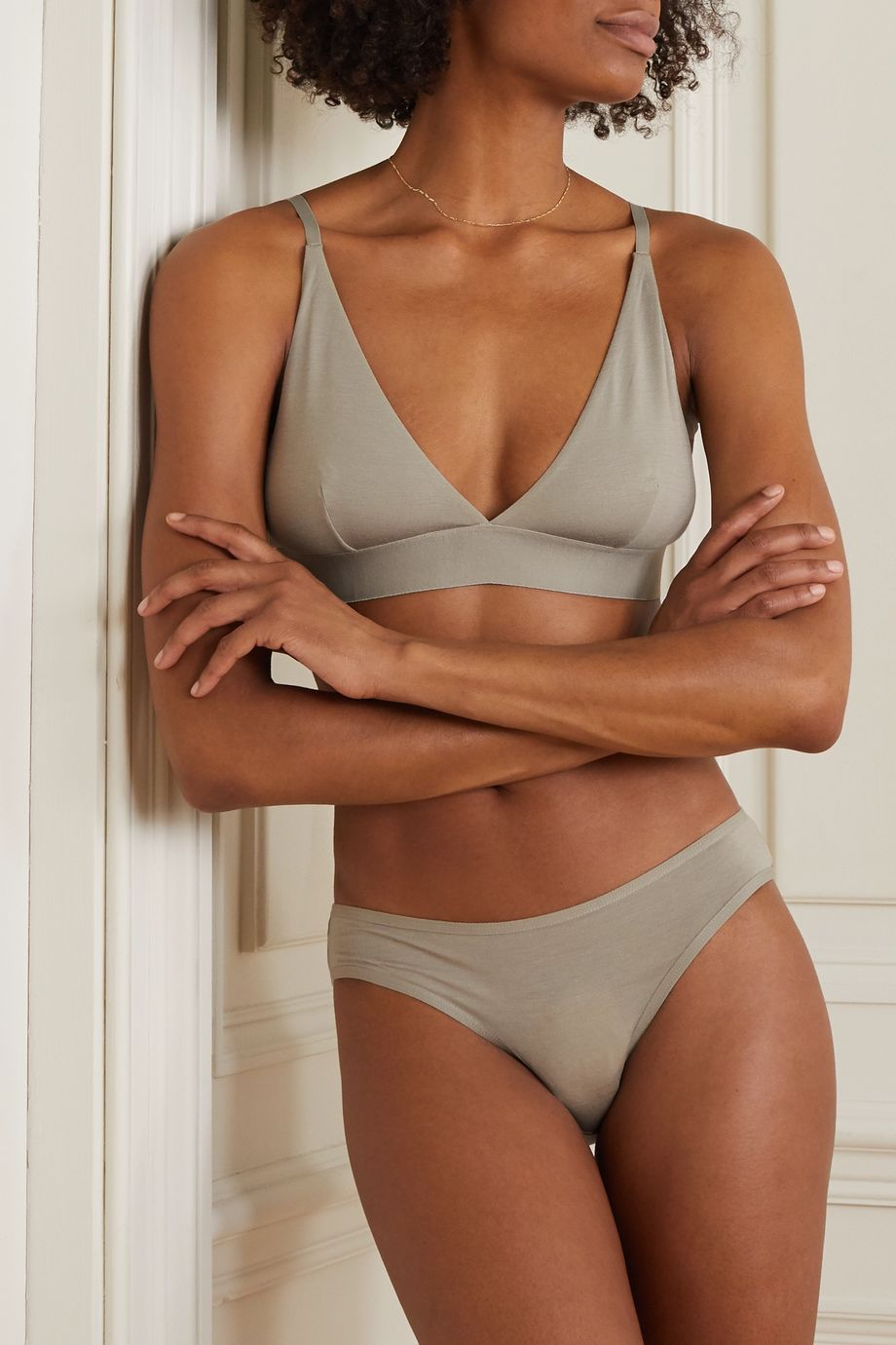 Baserange + NET SUSTAIN set of two stretch-bamboo triangle bras