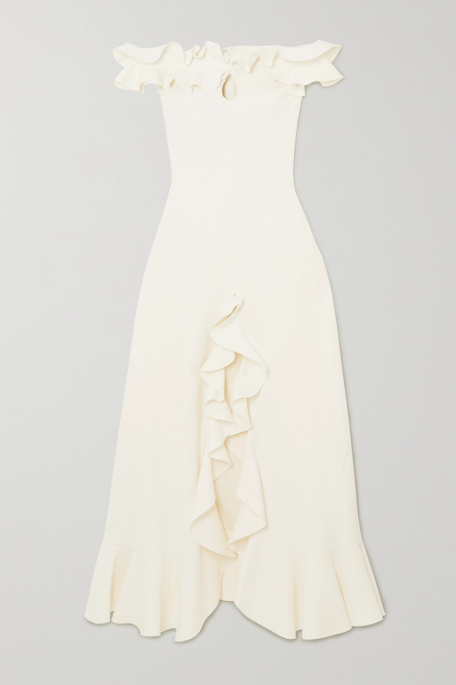 Giambattista Valli Off-the-shoulder ruffled cutout cady gown