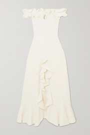 Giambattista Valli Off-the-shoulder ruffled cutout cady gown