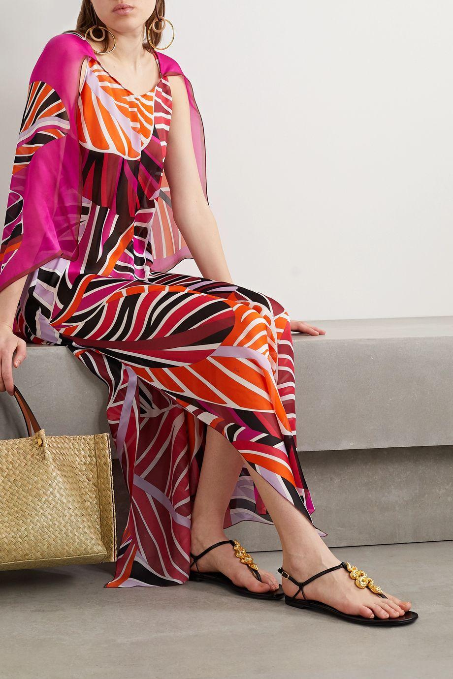 Emilio Pucci Cape-effect printed silk-georgette maxi dress