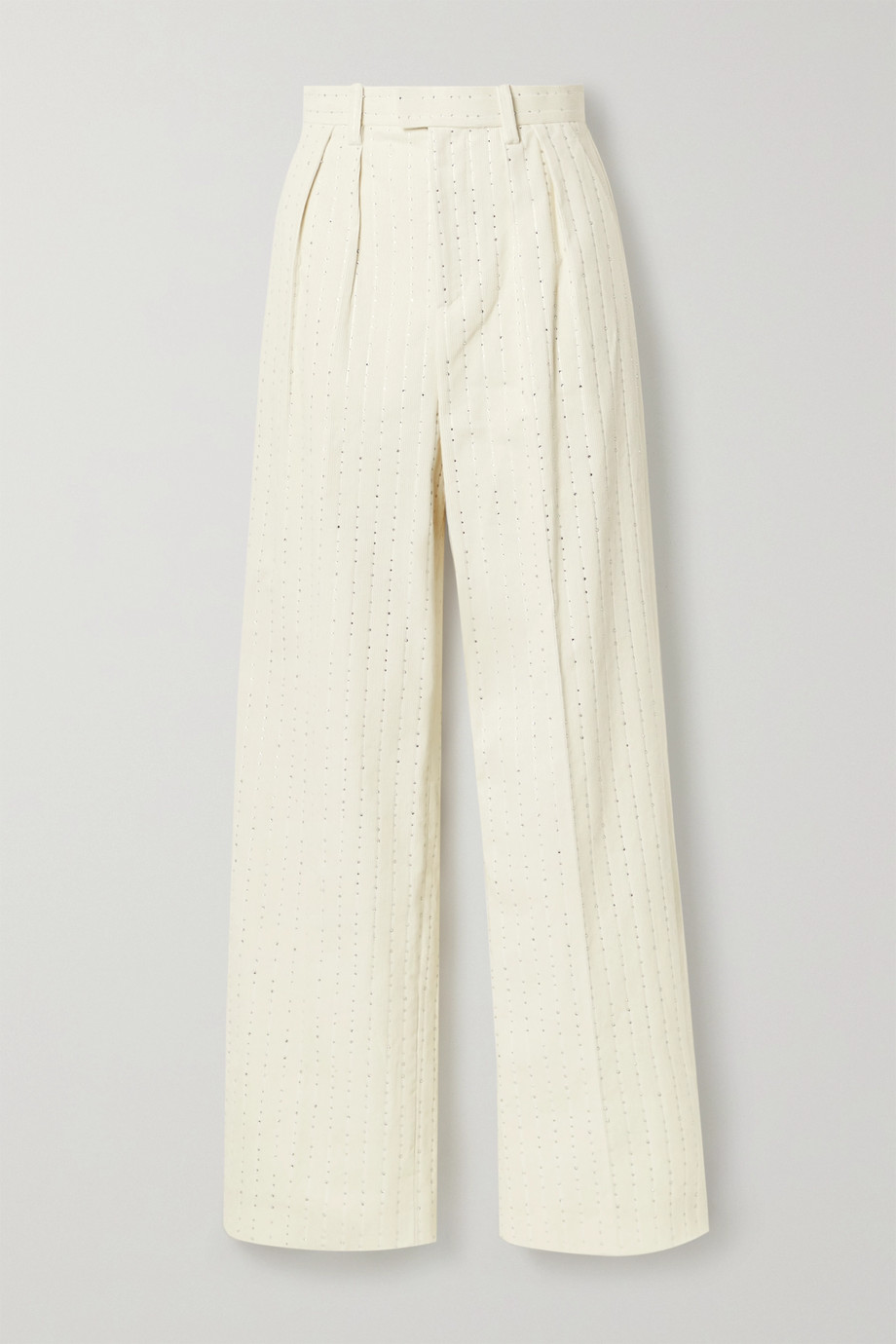 Runway Marc Jacobs Pleated crystal-embellished cotton-corduroy straight-leg pants