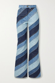 Runway Marc Jacobs Striped patchwork high-rise flared jeans