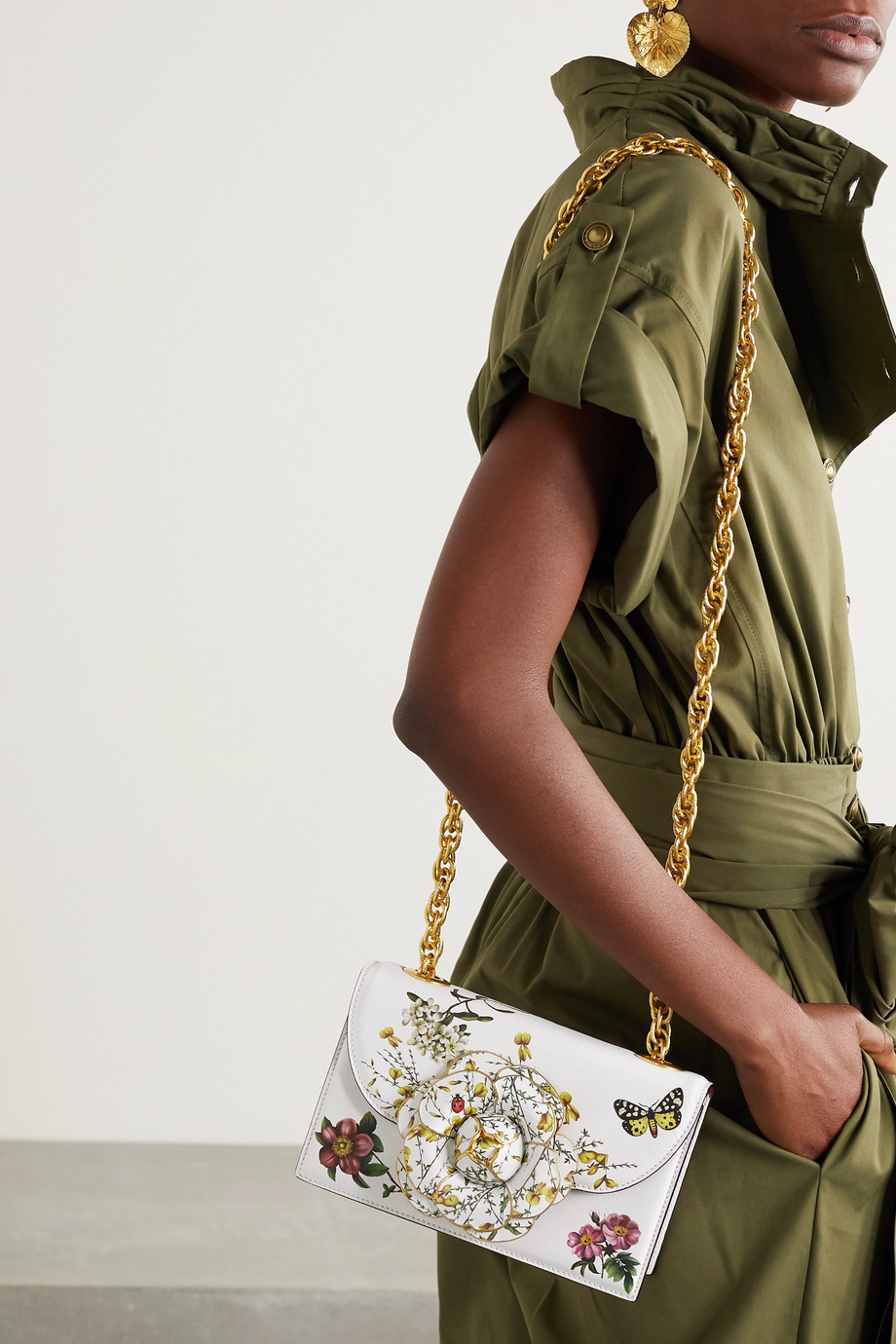 Oscar de la Renta Alibi printed textured-leather shoulder bag