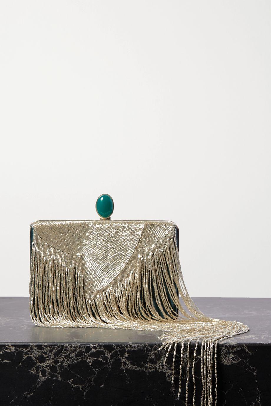 Oscar de la Renta Embellished silk-satin clutch
