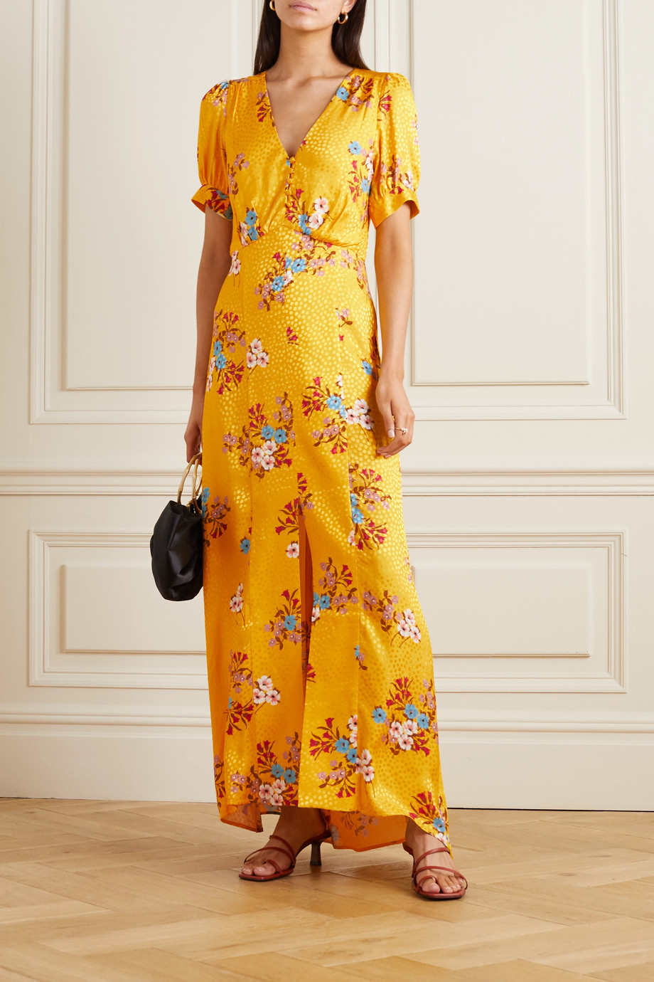 Paul & Joe Floral-print satin-jacquard maxi dress