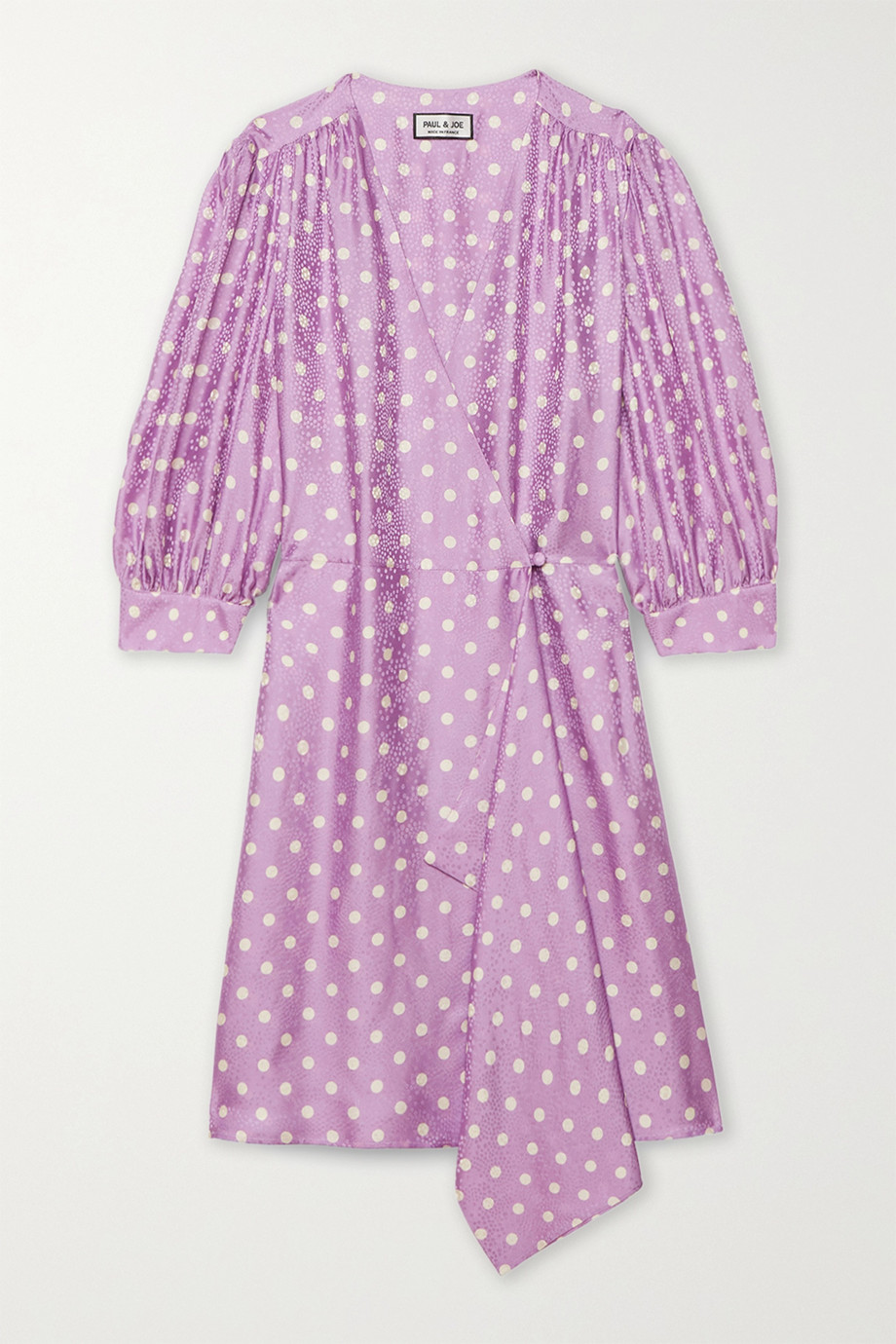 Paul & Joe Royans polka-dot satin-jacquard wrap mini dress