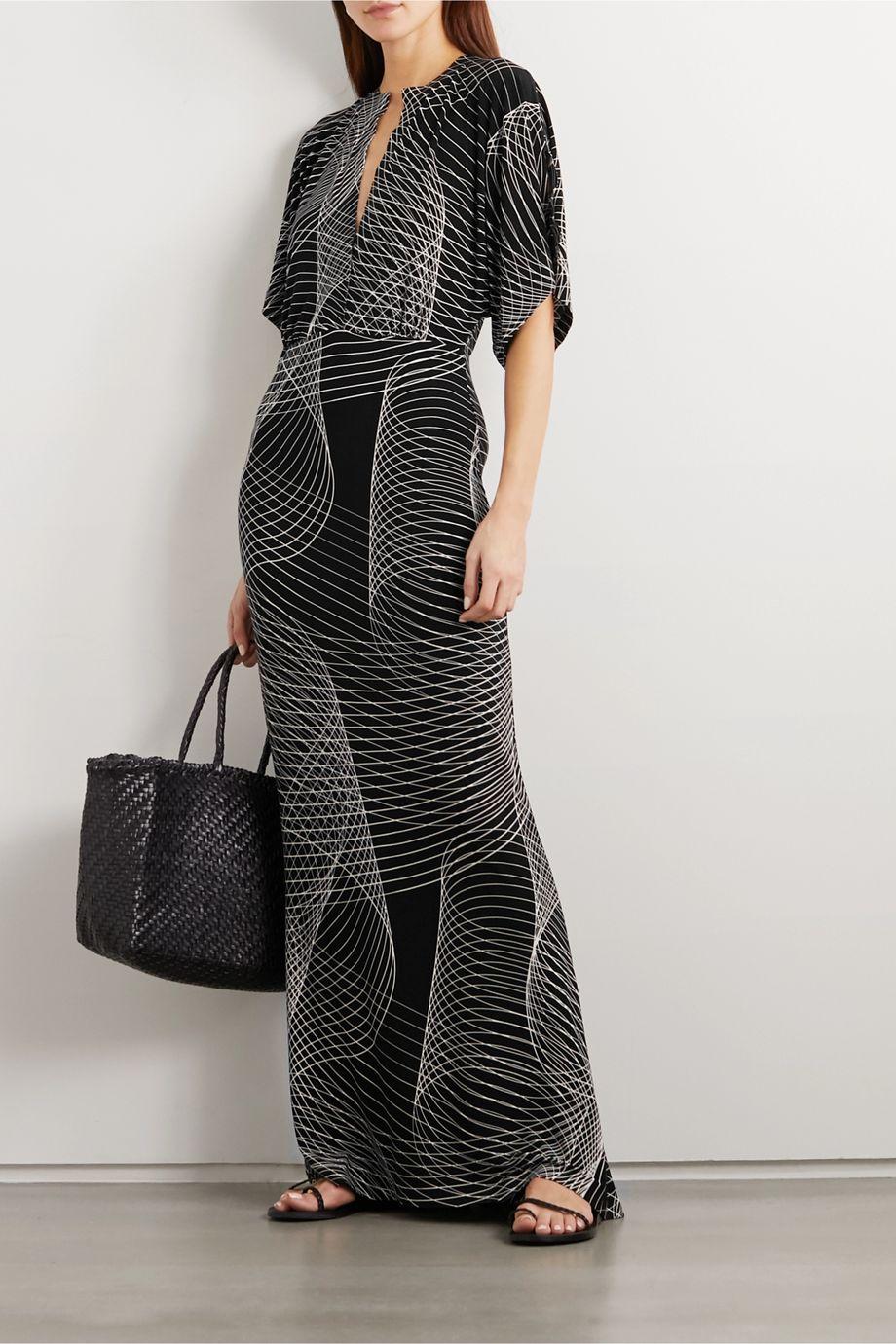 Norma Kamali Obie printed stretch-jersey maxi dress