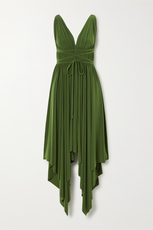 Goddess asymmetrisches Kleid aus Stretch-Jersey mit Raffungen