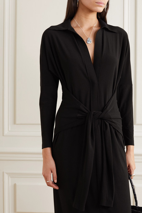 Tie-front stretch-jersey maxi dress