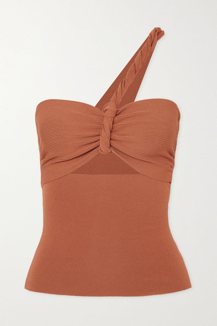 Nanushka Tallulah one-shoulder twisted cutout ribbed-knit top