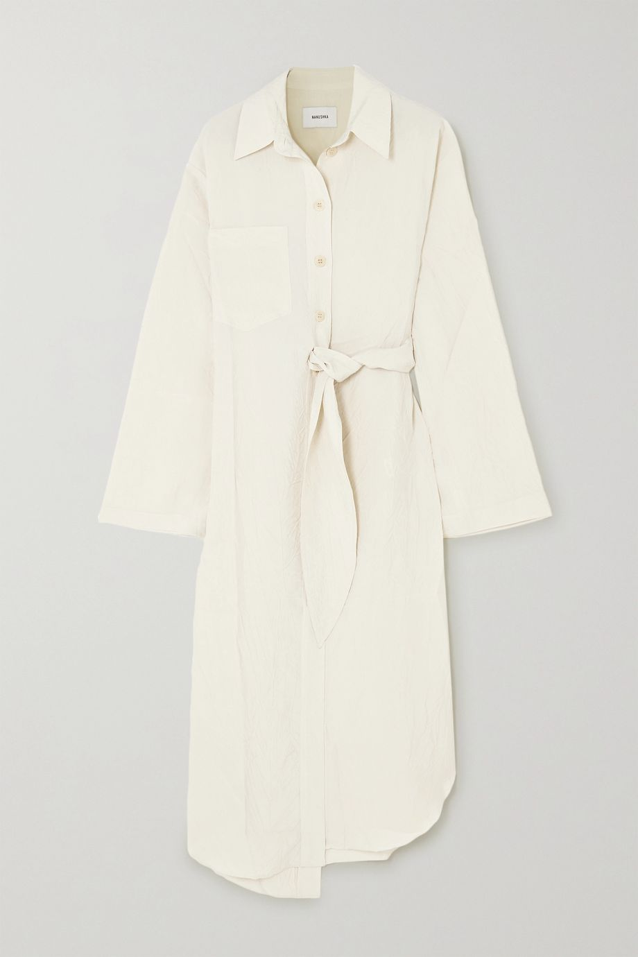 Nanushka Mona belted crinkled-crepe shirt dress