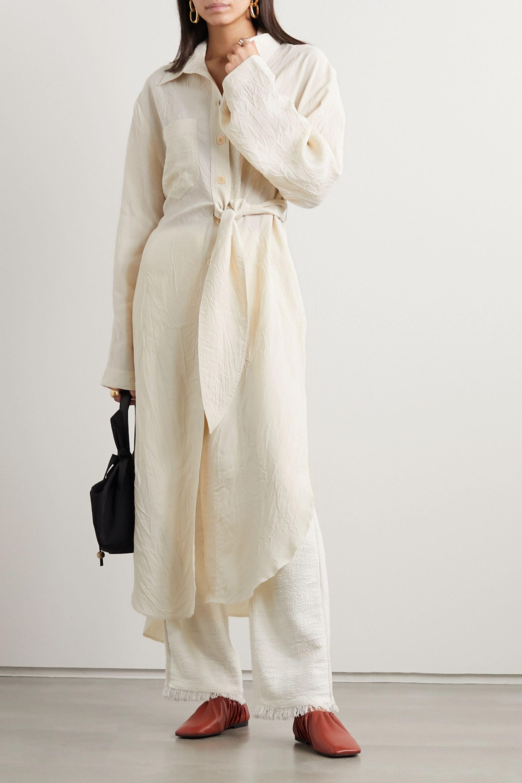 Nanushka Mona belted crinkled-crepe shirt dress