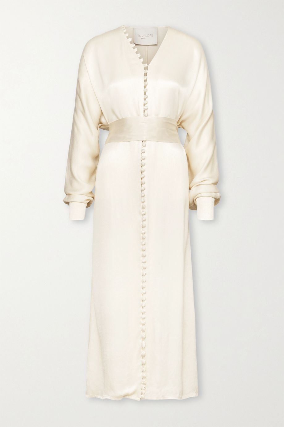 Envelope1976 + NET SUSTAIN Cannes belted button-detailed cupro-blend satin midi dress