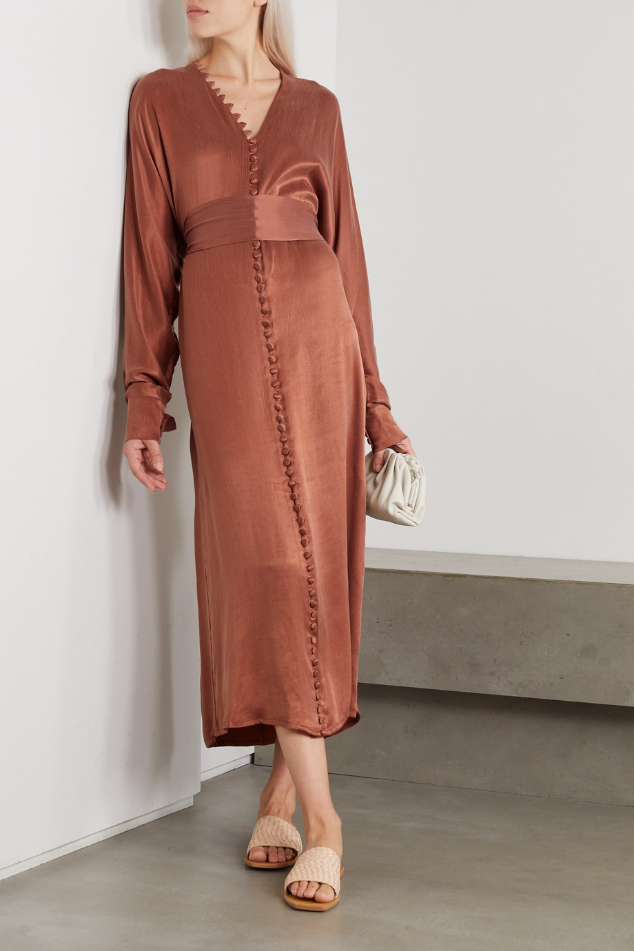 Envelope1976 + NET SUSTAIN Cannes cupro-blend satin midi dress