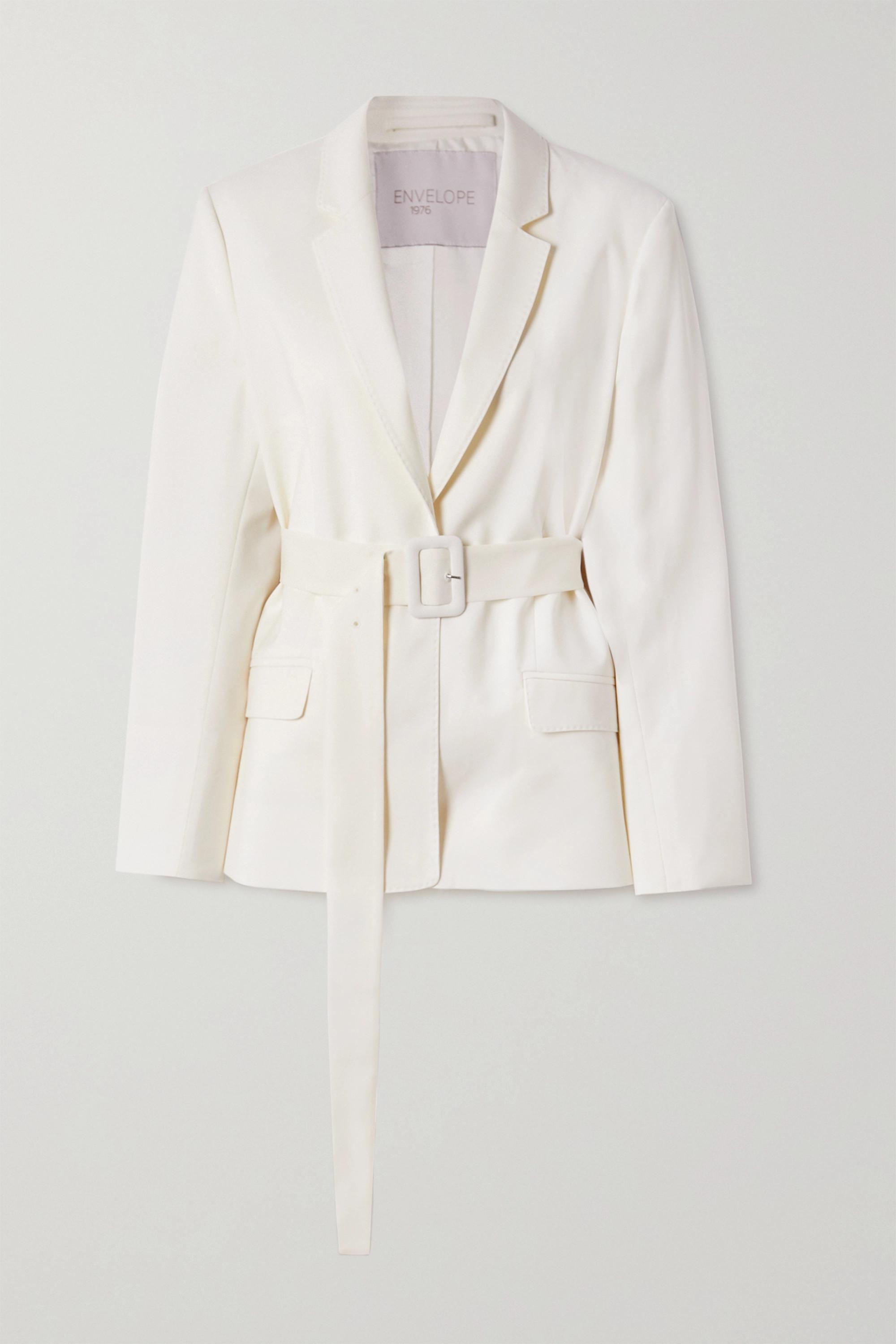 Envelope1976 + NET SUSTAIN Pfeiffer belted wool-crepe blazer