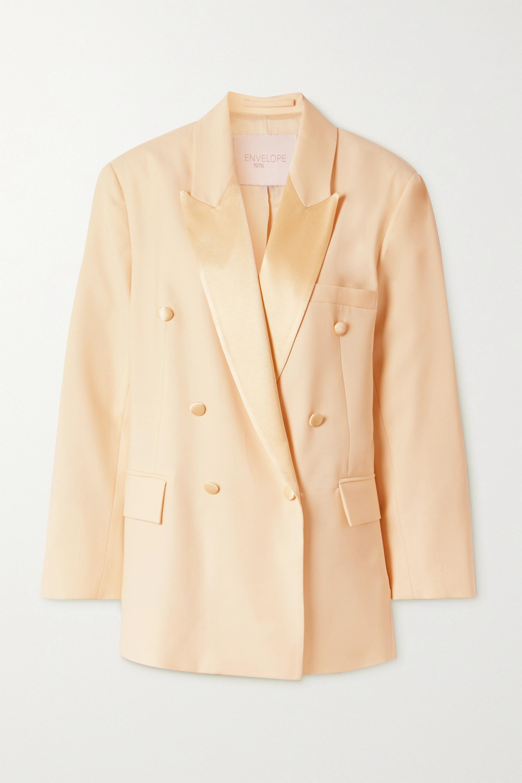 Envelope1976 + NET SUSTAIN Lyon double-breasted satin-trimmed wool-crepe blazer