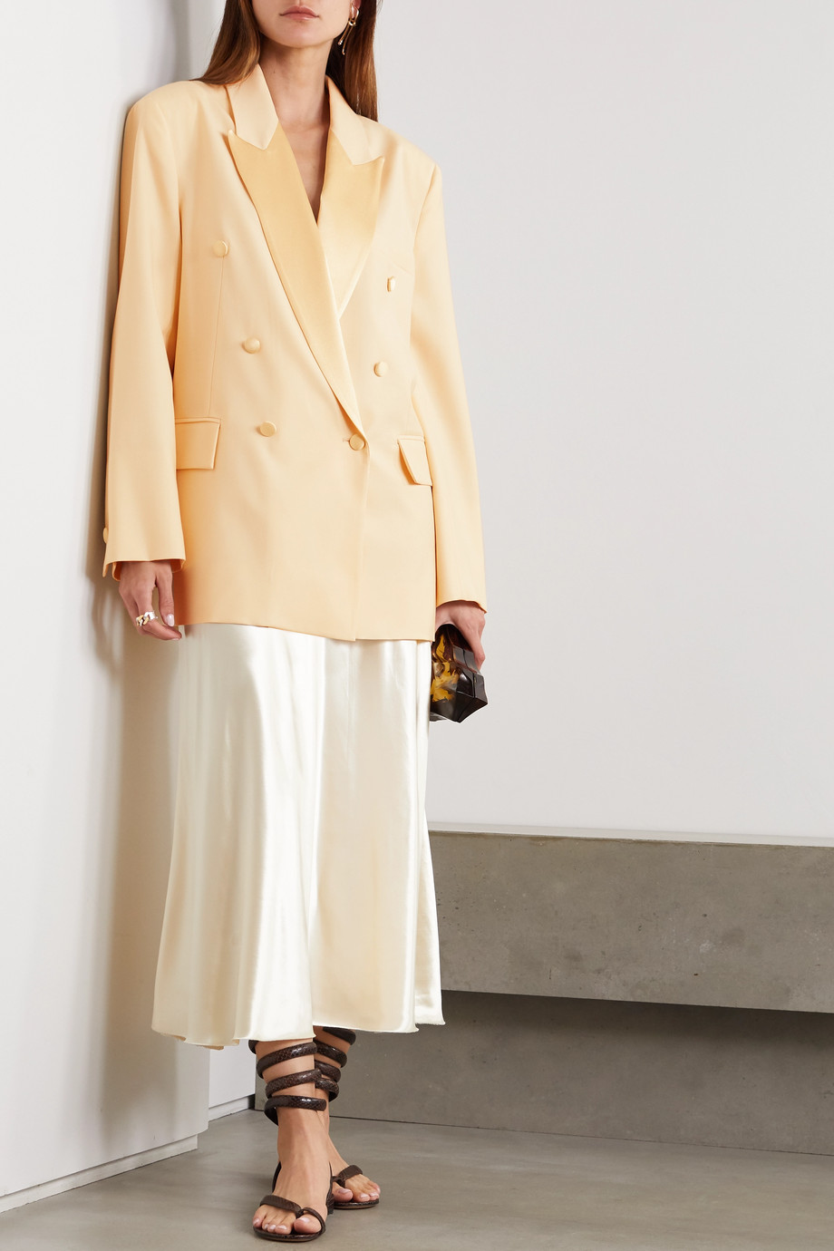 Envelope1976 + NET SUSTAIN Lyon double-breasted satin-trimmed wool-crepe blazer