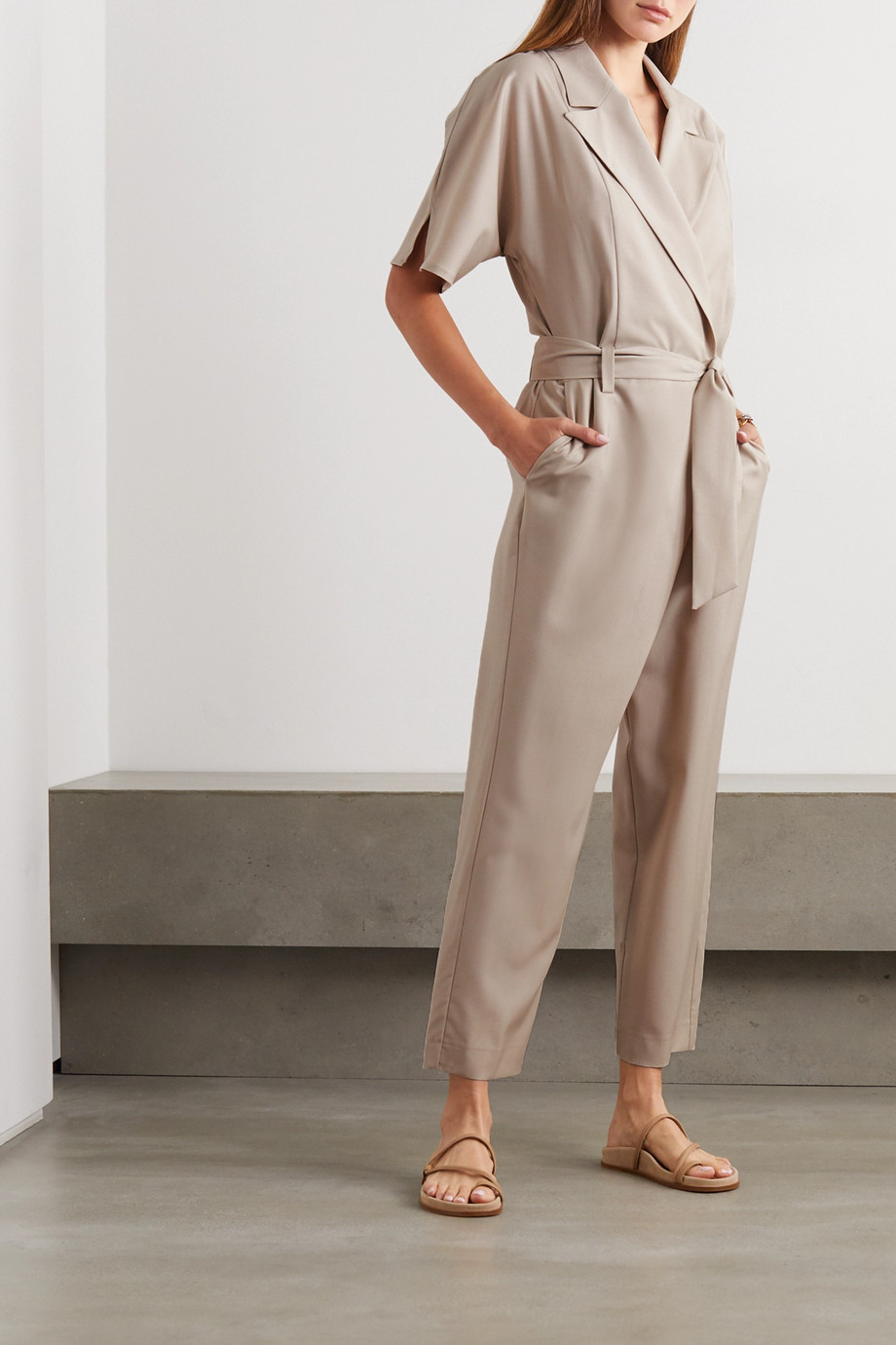 Envelope1976 + NET SUSTAIN Casablanca wool-crepe wrap jumpsuit