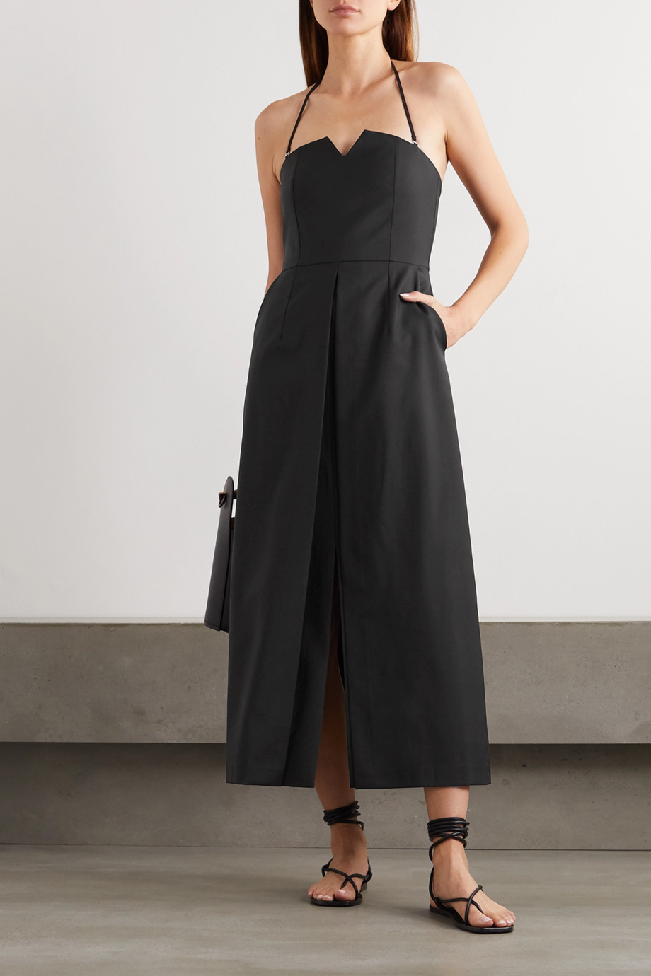 Envelope1976 + NET SUSTAIN L.A. wool-twill halterneck midi dress