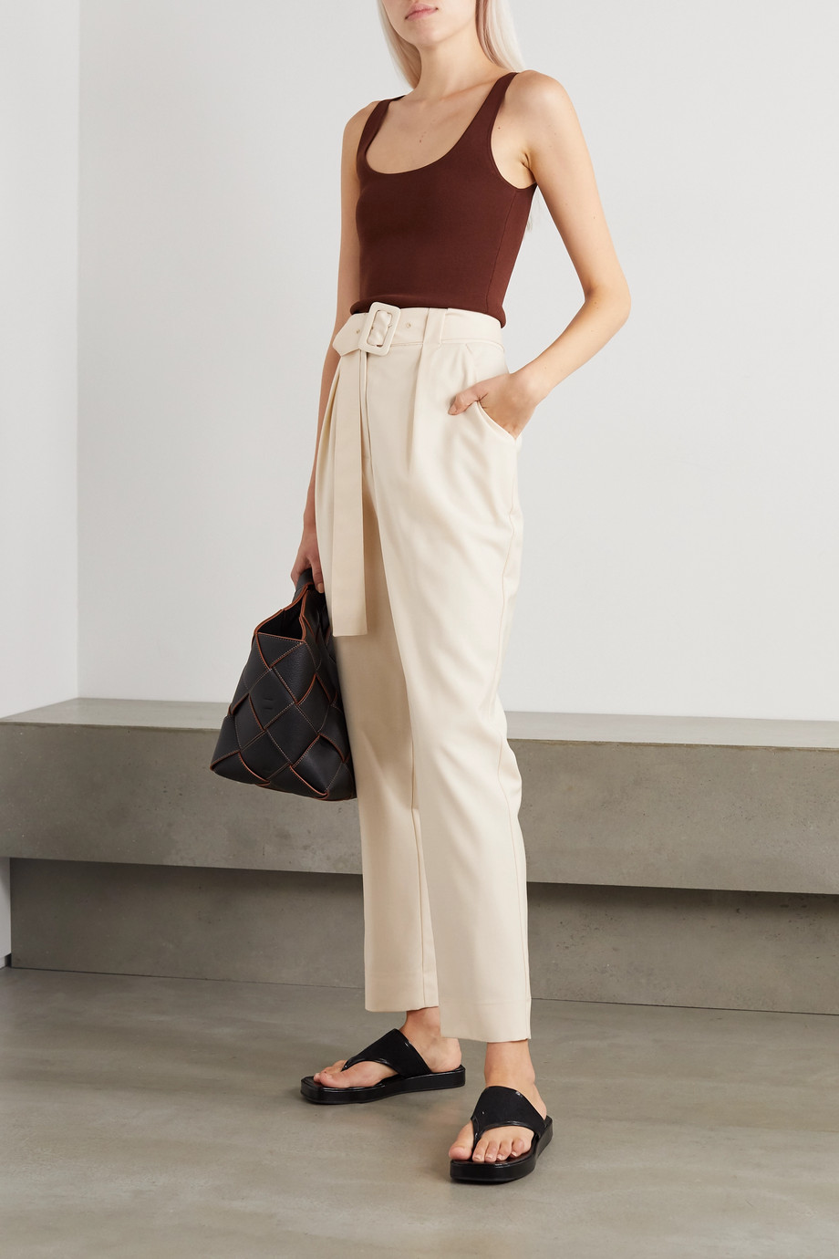 Envelope1976 + NET SUSTAIN Pfeiffer belted pleated wool pants