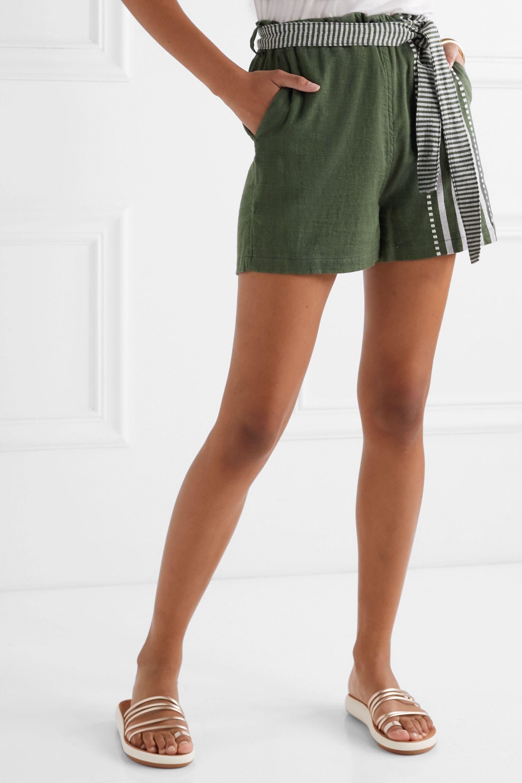Army Green Eshe Belted Striped Cotton-gauze Shorts   Lemlem