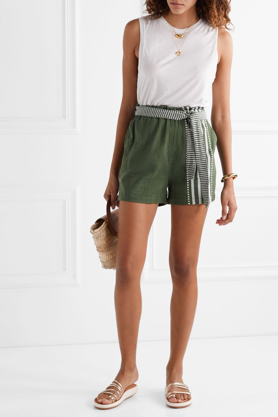 LemLem Eshe belted striped cotton-gauze shorts