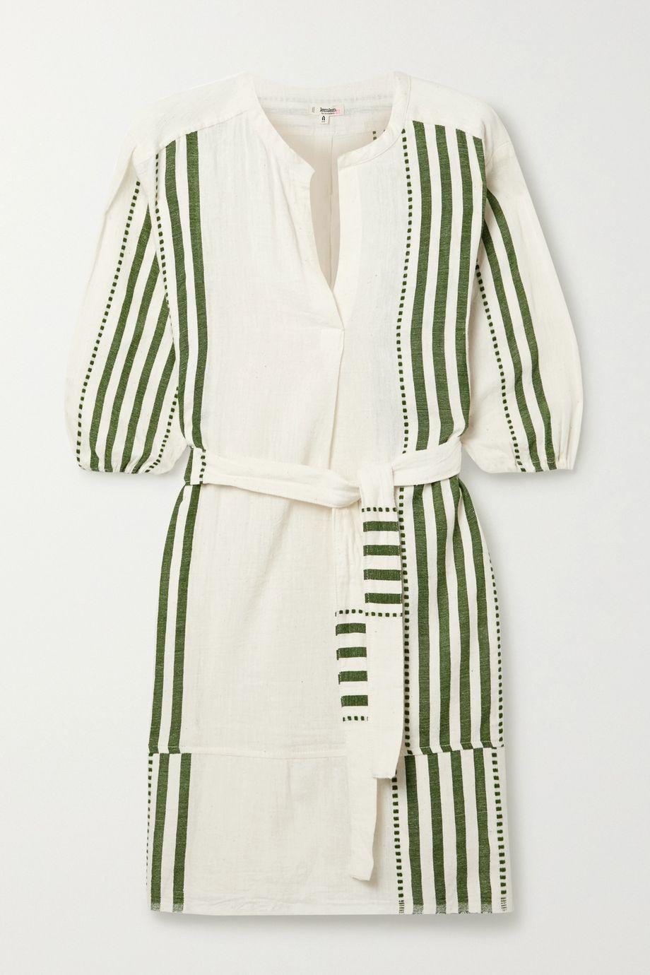 LemLem Eshe Minikleid aus gestreifter Baumwollgaze mit Bindegürtel