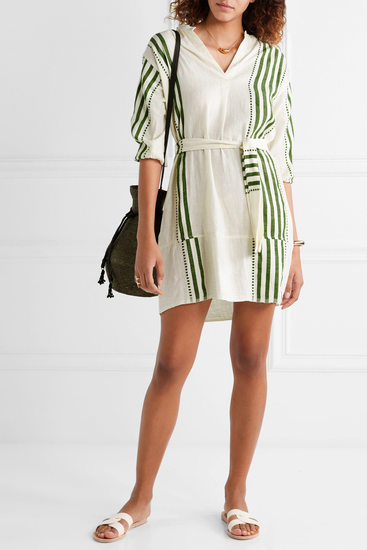 LemLem Eshe belted striped cotton-gauze mini dress