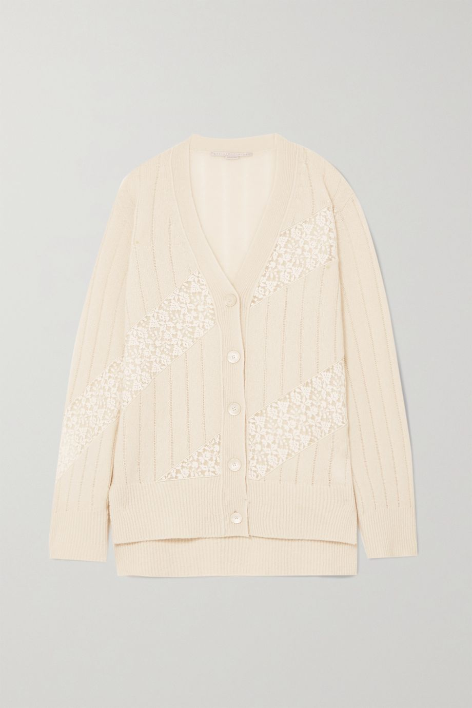 Stella McCartney + NET SUSTAIN lace-paneled cashmere and wool-blend cardigan