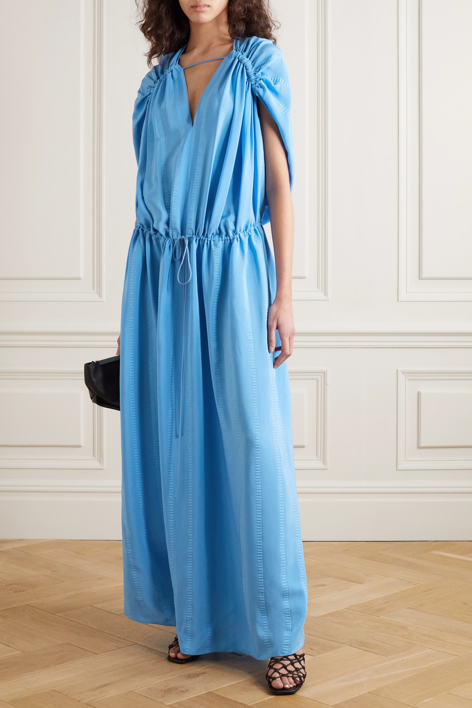 Stella McCartney Monica ruched silk-blend jacquard gown