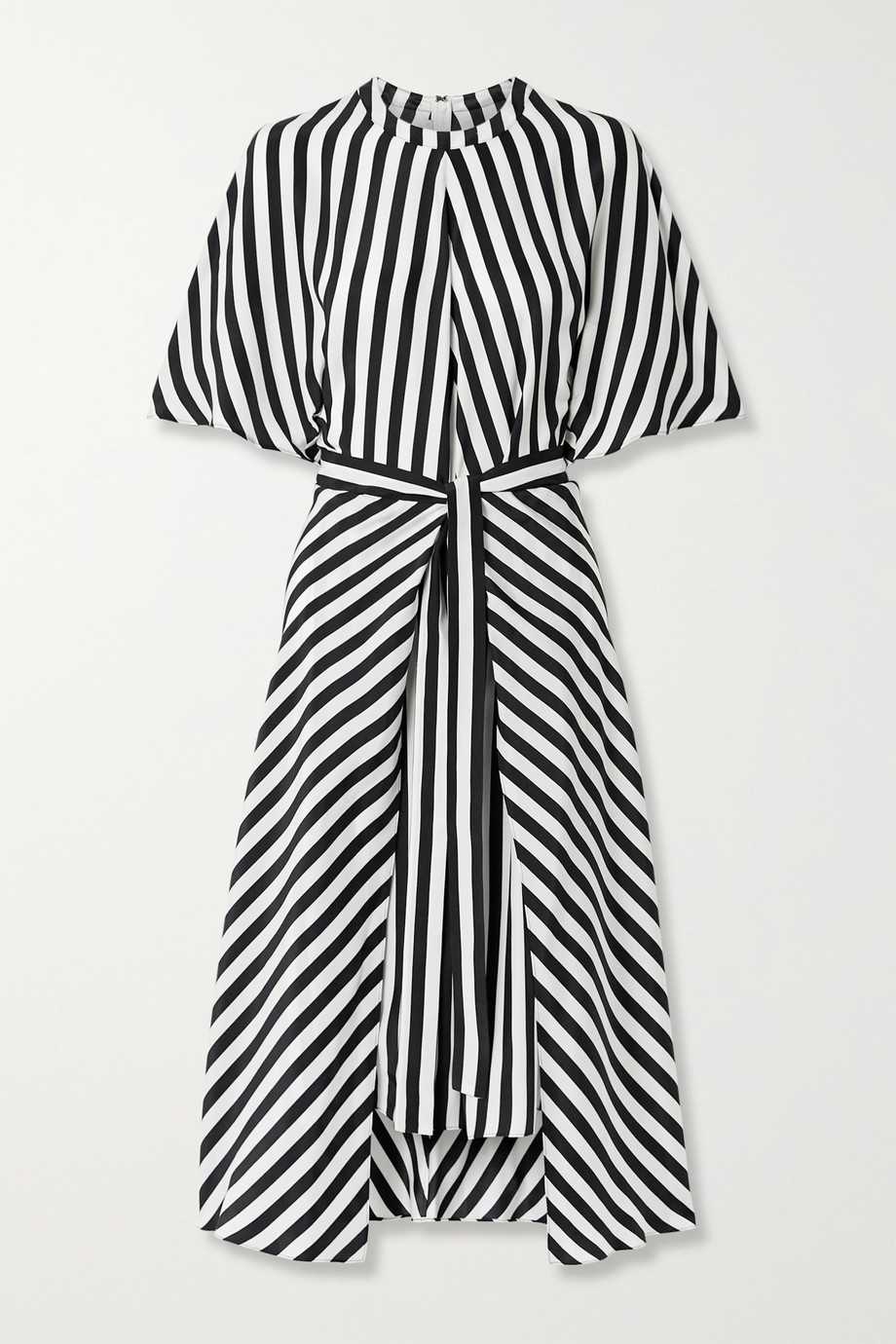Stella McCartney Penelope belted striped silk-satin midi dress